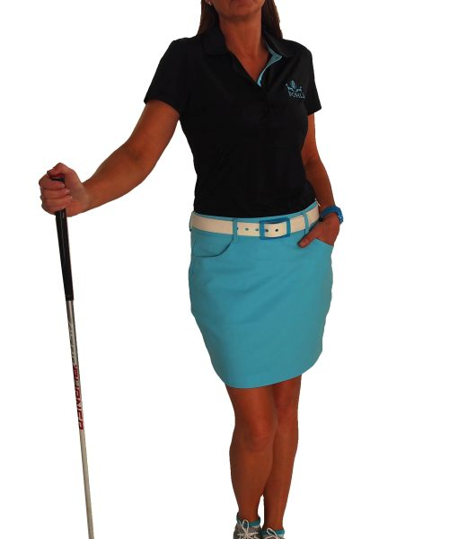 Paris Golf Skort.  Shown with Duo Belt in White/Blue,  Pohli sleeveless top in Black/Blue and Visor in Butler's Blue (Duo Belt, Visor and Top sold separately).