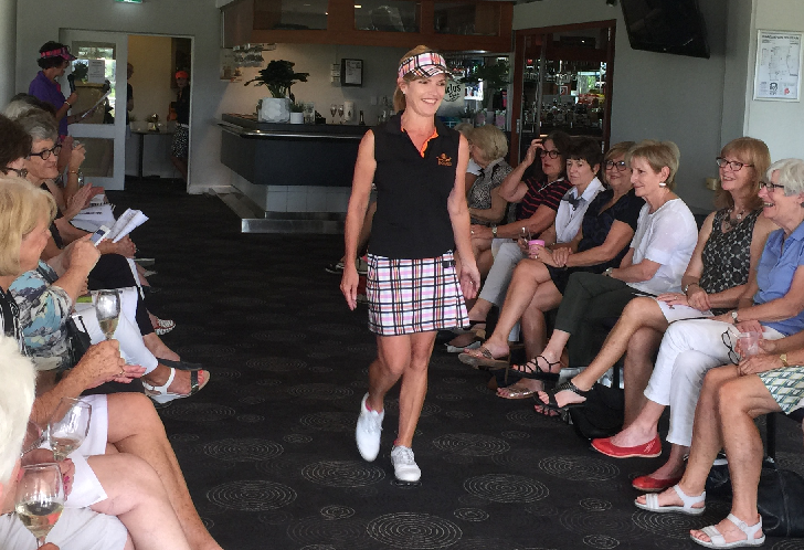 Pohli Women's Golf Wear, Classic Skort, Sadler Check. Cammeray Golf Club Women's Golf Fashion Show. Ladies' golf wear, Ladies golf apparel, golf skorts, golf skirts, women's golf tops, Women's golf fashion, women's golf apparel, women's golf apparel online.